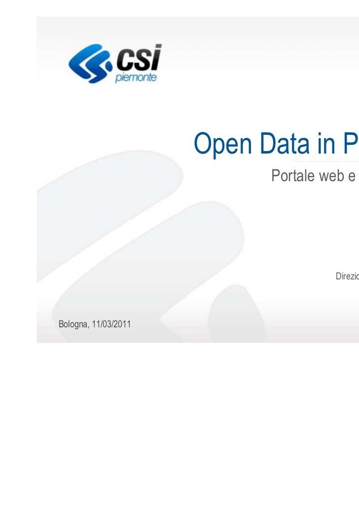 Open Data in Piemonte Portale web e best practices