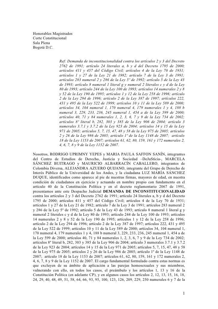 Honorables Magistrados Corte Constitucional Sala Plena Bogotá D.C.                   Ref: Demanda de inconstitucionalidad ...
