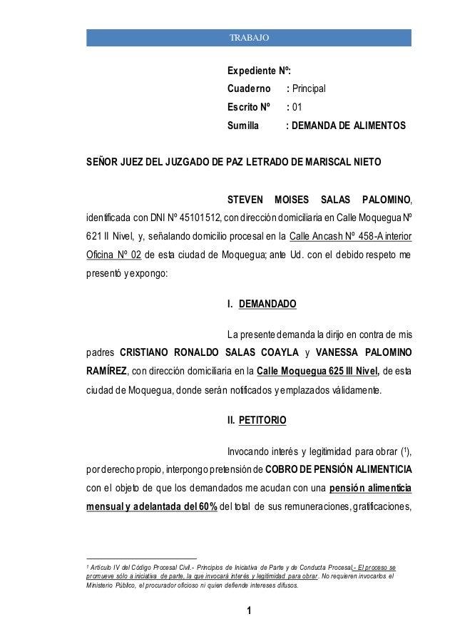 TRABAJO  Expediente Nº:  Cuaderno : Principal  Escrito Nº : 01  Sumilla : DEMANDA DE ALIMENTOS  SEÑOR JUEZ DEL JUZGADO DE ...