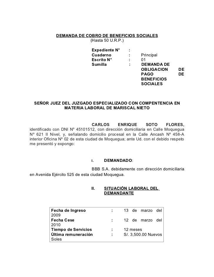DEMANDA DE COBRO DE BENEFICIOS SOCIALES                         (Hasta 50 U.R.P.)                                Expedient...
