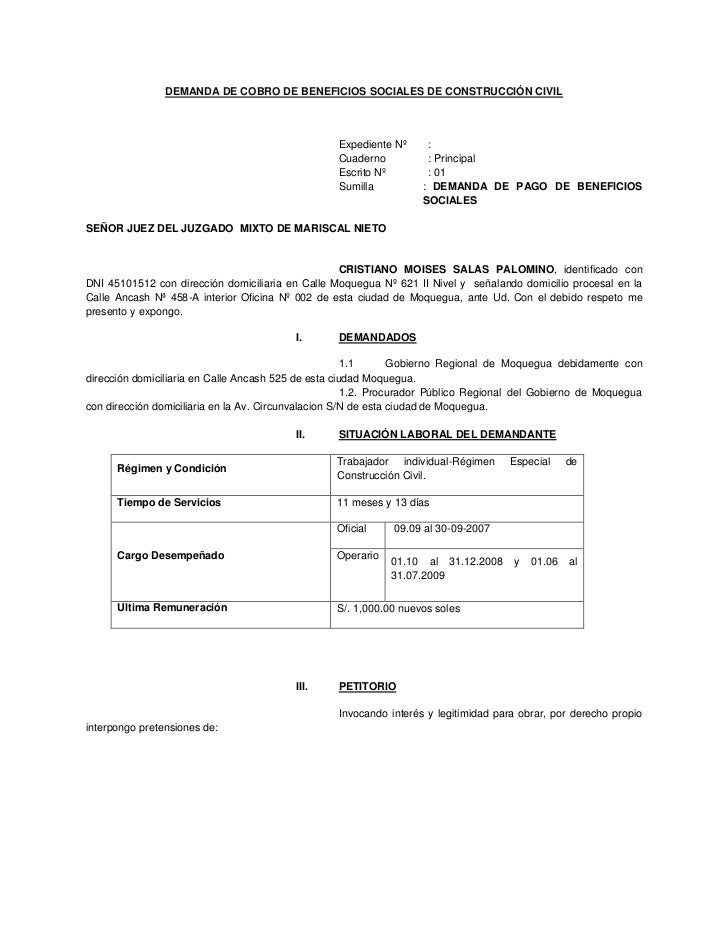 DEMANDA DE COBRO DE BENEFICIOS SOCIALES DE CONSTRUCCIÓN CIVIL<br />Expediente Nº:<br />Cuaderno : Principal<br /> Escrito ...