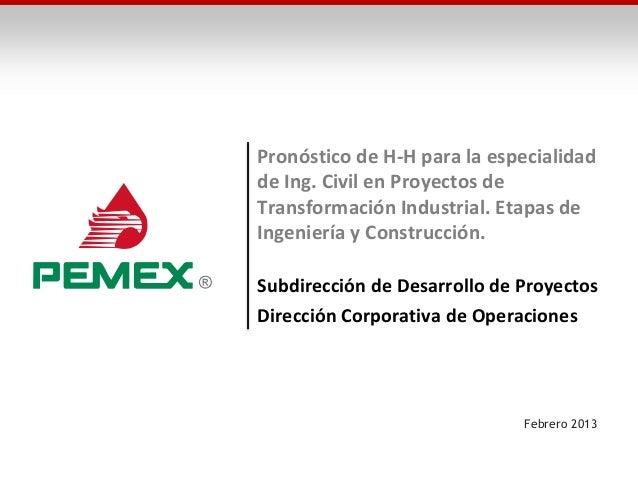 Pronóstico de H-H para la especialidadde Ing. Civil en Proyectos deTransformación Industrial. Etapas deIngeniería y Constr...