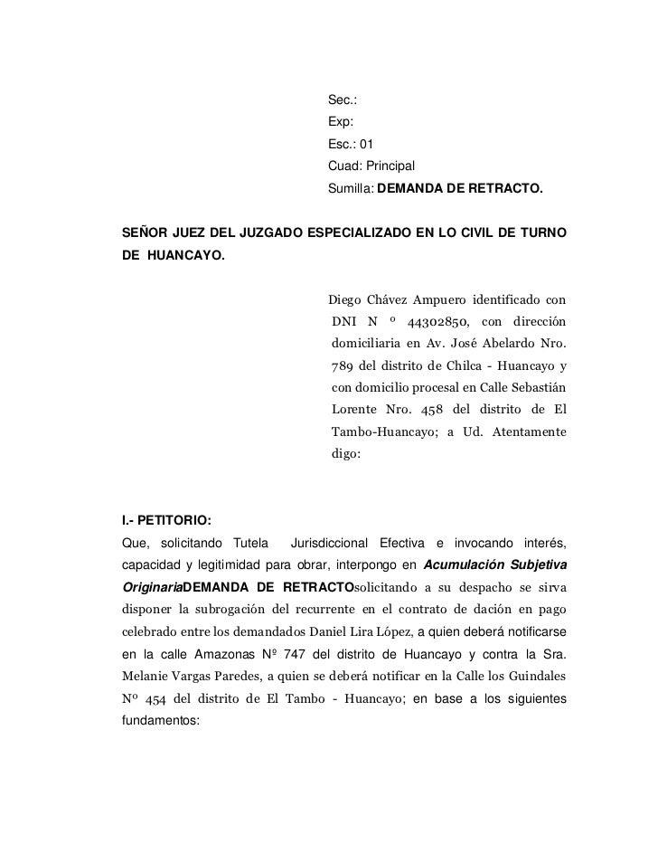 Demanda de retracto acumulacion subjetiva oroginaria for Consulta demanda de empleo