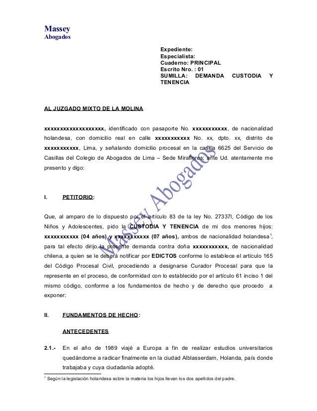 MODELO DE DEMANDA DE CUSTODIA Y TENENCIA