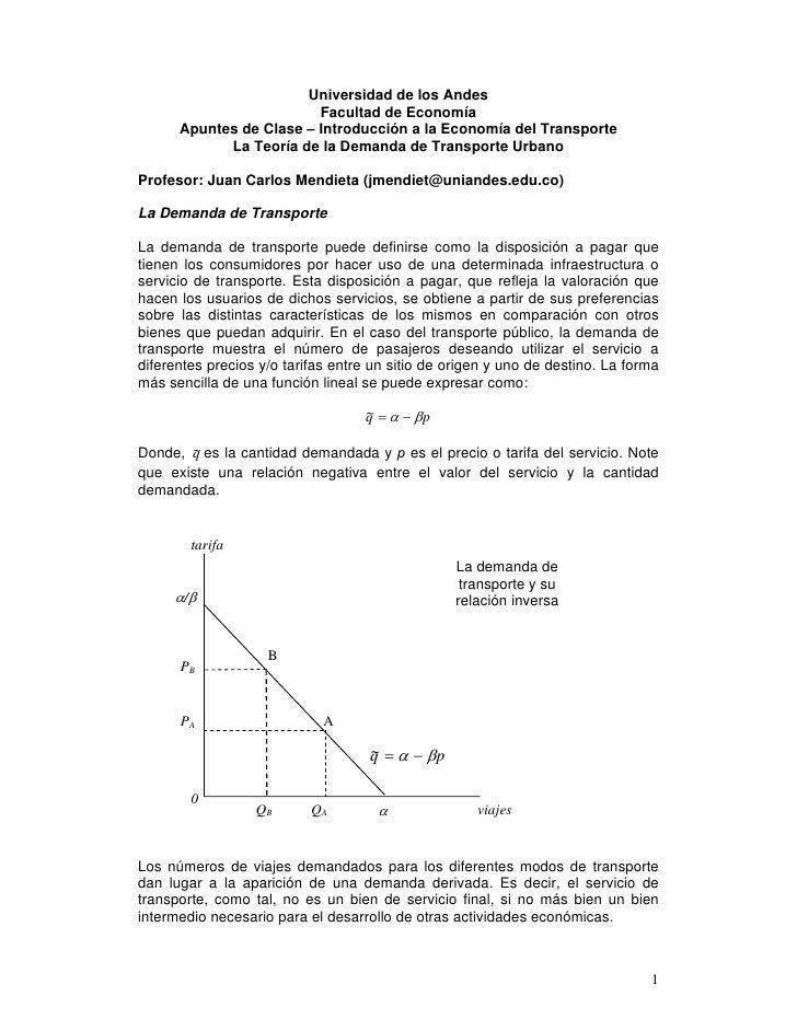 Universidad de los Andes                          Facultad de Economía       Apuntes de Clase – Introducción a la Economía...