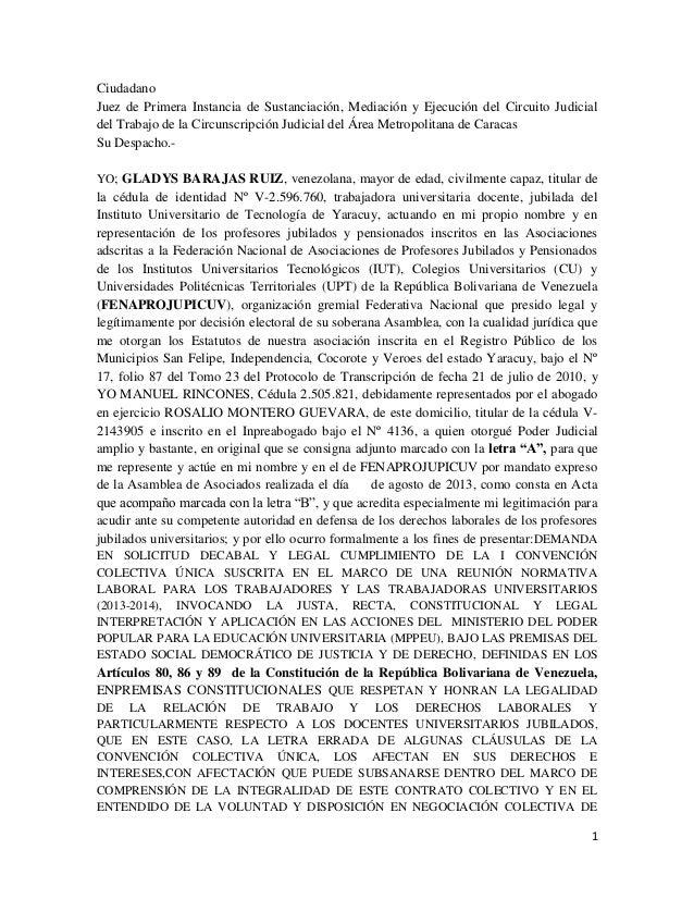 Demanda FENAPROJUPICUV por los derechos de los Jubilados a la CCÚ. Consignada 25/09/13