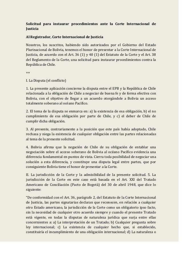 Demanda Marítima Boliviana presentada contra Chile ante La Haya