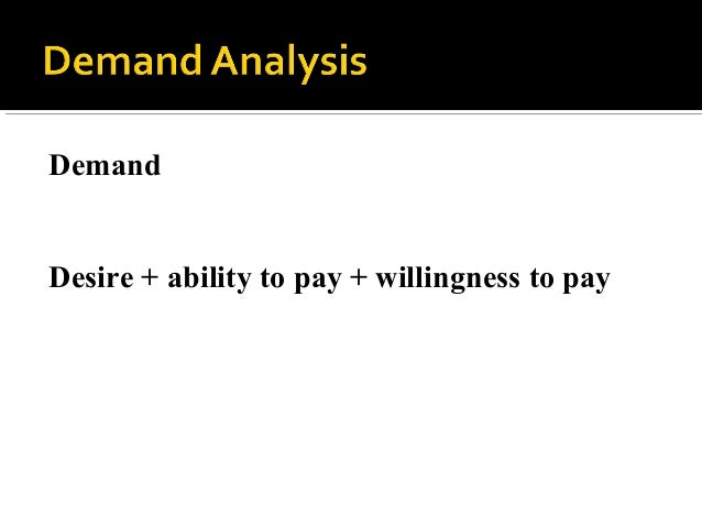 Demand Desire + ability to pay + willingness to pay