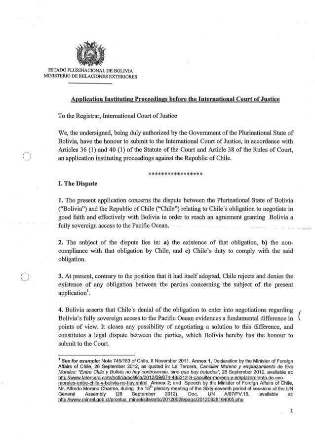 ()ESTADO PLURINACIONAL DE BOLTVIAMINISTERIO DE RELACIONES EXTERIORESApplication Instituting Proceedings before the Interna...
