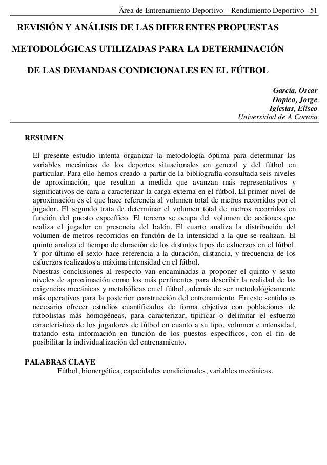 Área de Entrenamiento Deportivo – Rendimiento Deportivo 51 REVISIÓN Y ANÁLISIS DE LAS DIFERENTES PROPUESTAS METODOLÓGICAS ...