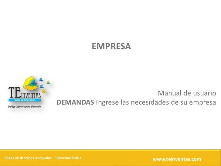 EMPRESA                                                            Manual de usuario                               DEMANDA...