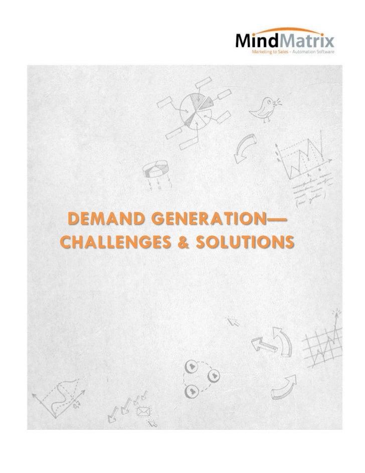 Demand generation—challenges & solutions