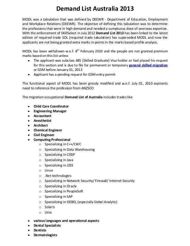 Demand List Australia 2013