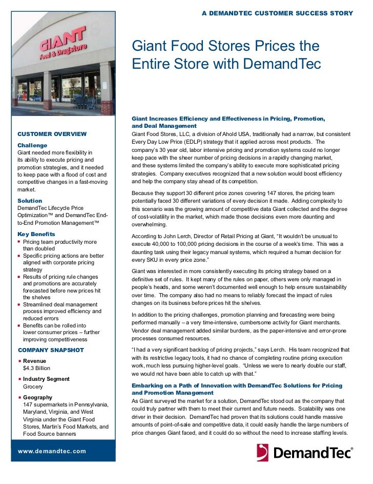 A DemAnDTeC CusTomer suCCess sTory                                         Giant Food Stores Prices the                   ...