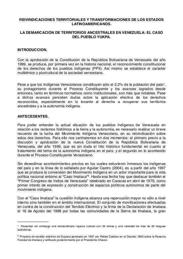 REIVINDICACIONES TERRITORIALES Y TRANSFORMACIONES DE LOS ESTADOS LATINOAMERICANOS. LA DEMARCACION DE TERRITORIOS ANCESTRAL...