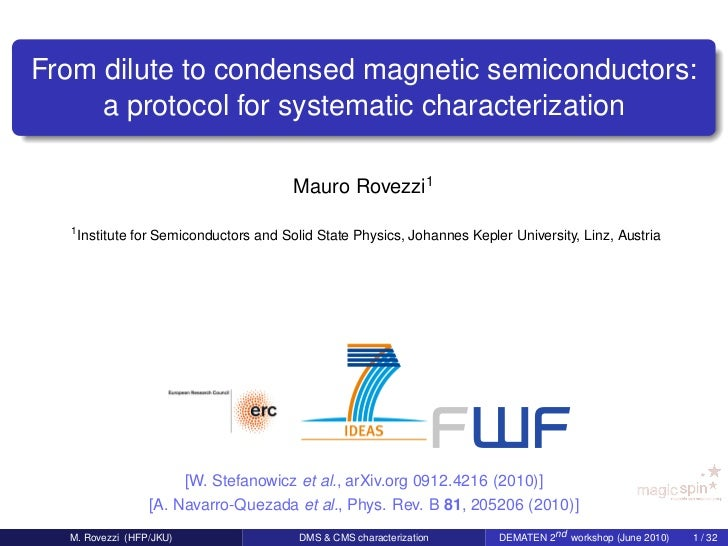 From dilute to condensed magnetic semiconductors:     a protocol for systematic characterization                          ...