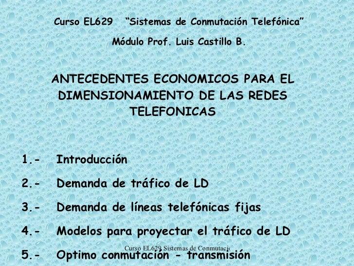 ANTECEDENTES ECONOMICOS PARA EL DIMENSIONAMIENTO DE LAS REDES TELEFONICAS 1.- Introducción 2.- Demanda de tráfico de LD 3....