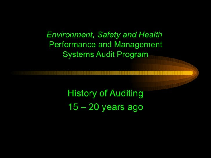 Presentation on EHS Auditing & Protocols