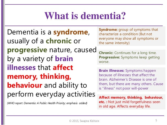 dementia overview symptoms and effects Dementia is a condition related to loss of cognitive abilities, which leads to problems in social and personal life of the affected person this article gives an overview about the condition, which includes its symptoms, diagnosis, and treatment.