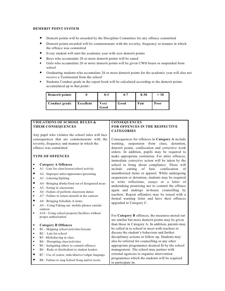 DEMERIT POINT SYSTEM      •    Demerit points will be awarded by the Discipline Committee for any offence committed     • ...