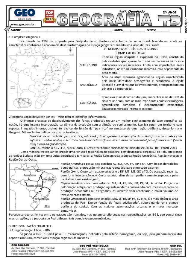 Demetrio geo ii geo sul   td regionalização brasileira