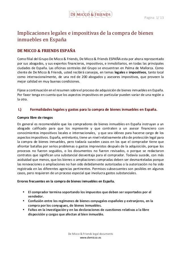 Implicaciones legales e impositivas de la compra de bienes - Bienes raices espana ...