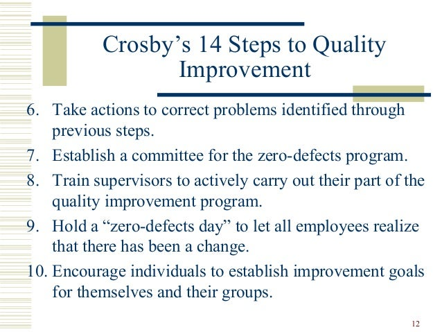 deming s 14 points and crosby's 14 Deming's theory of profound knowledge and his fourteen points for quality   the first section of the chapter begins with a definition of quality  although  other americans, most notably j m juran and philip crosby, were.
