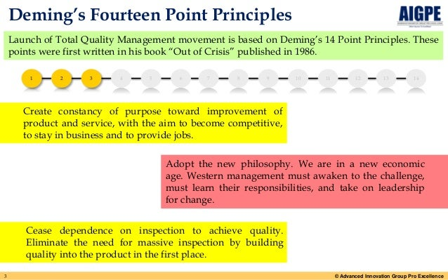 deming s 14 points Deming's 14 points on quality management: considered one of the preeminent thought leaders in modern management, emphasized that quality must be a resounding priority throughout any organization driven toward success.