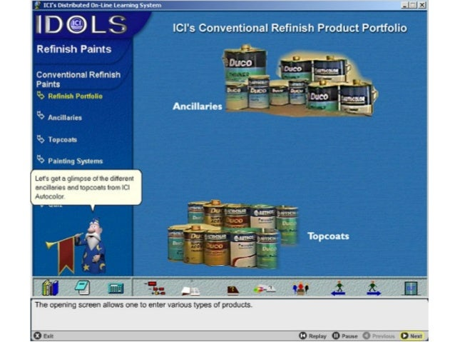 An interactive CD-ROM imparting training about various types of paint products and how to deal with a customer.