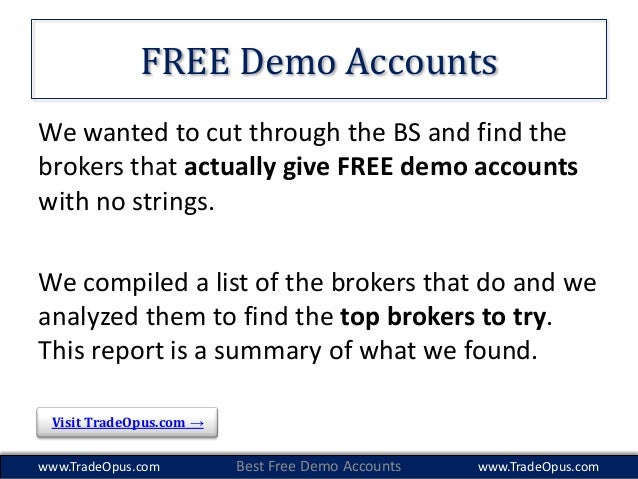 Binary option brokers demo accounts
