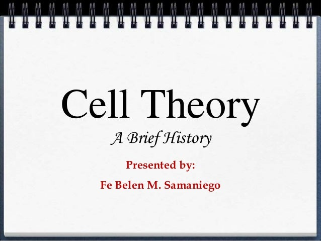 Cell Theory A Brief History Presented by: Fe Belen M. Samaniego