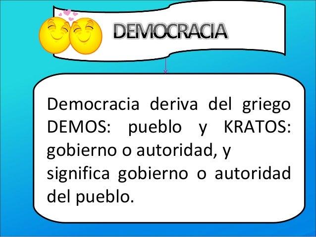 Democracia deriva del griegoDEMOS: pueblo y KRATOS:gobierno o autoridad, ysignifica gobierno o autoridaddel pueblo.