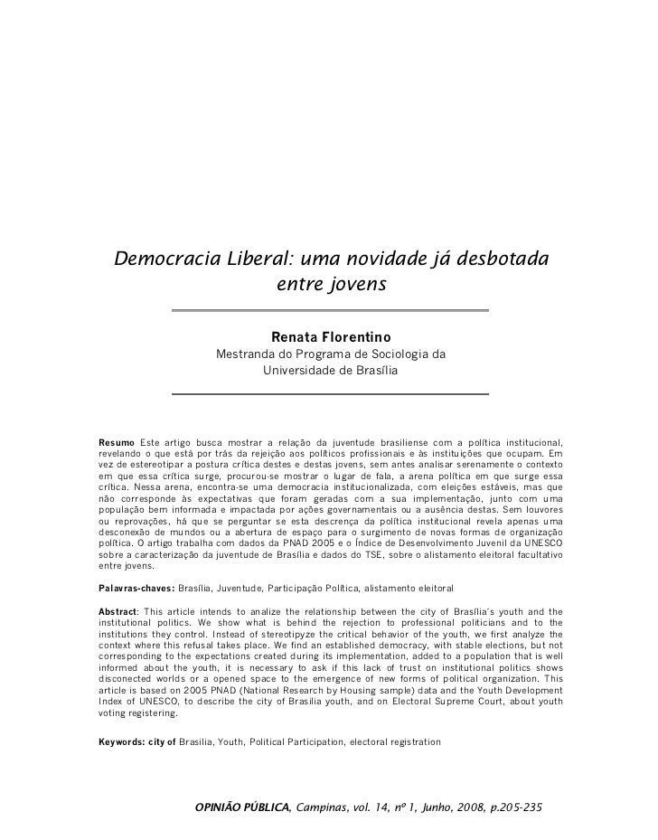 Democracia Liberal: uma novidade já desbotada                    entre jovens                                           Re...