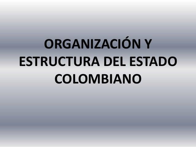 ORGANIZACIÓN YESTRUCTURA DEL ESTADOCOLOMBIANO