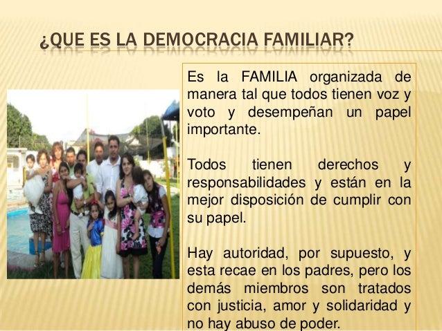 ¿QUE ES LA DEMOCRACIA FAMILIAR?              Es la FAMILIA organizada de              manera tal que todos tienen voz y   ...