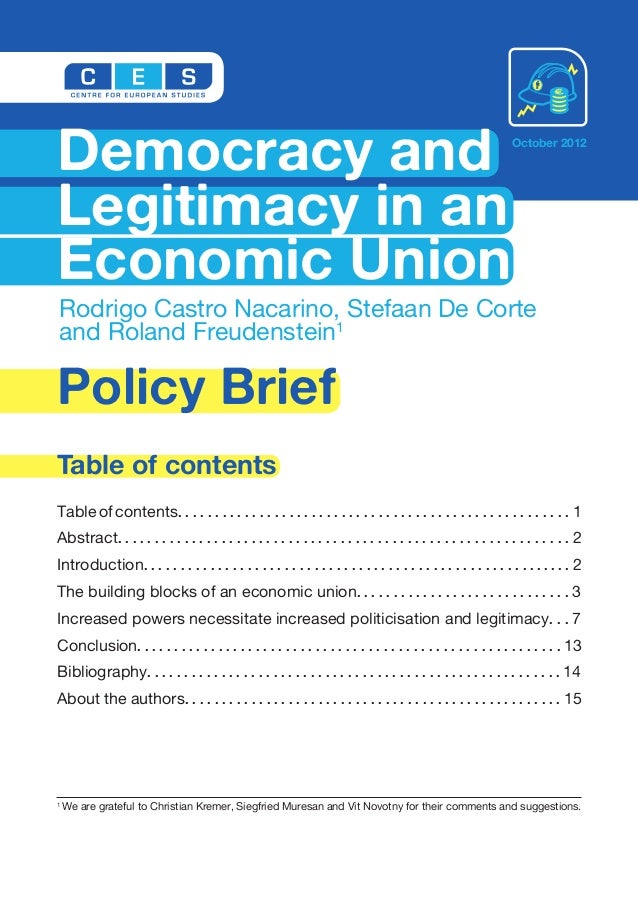 Democracy and Legitimacy in an Economic Union
