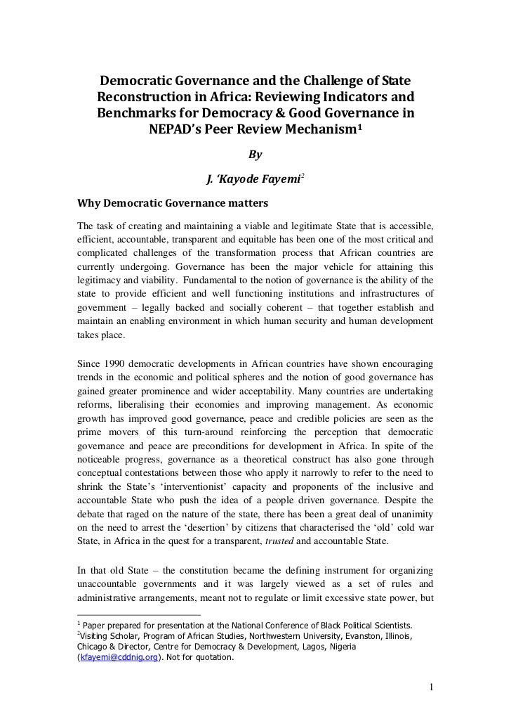 Democratic Governance and the Challenge of State Reconstruction in Africa: Reviewing Indicators and Benchmarks for Democracy & Good Governance in Nepad's Peer Review Mechanism