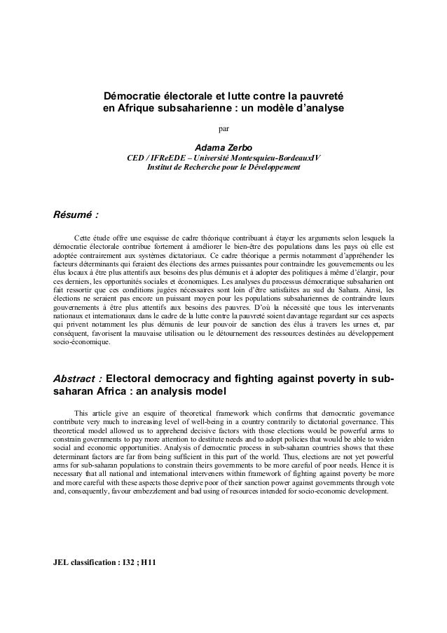Démocratie électorale et lutte contre la pauvreté en Afrique subsaharienne : un modèle d'analyse par Adama Zerbo CED / IFR...
