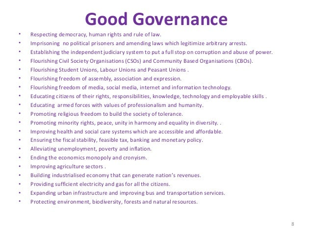 essay good governance pakistan However there is increasing interest in good governance what senator cato said about rome then is true of pakistan good policies require good persons to.