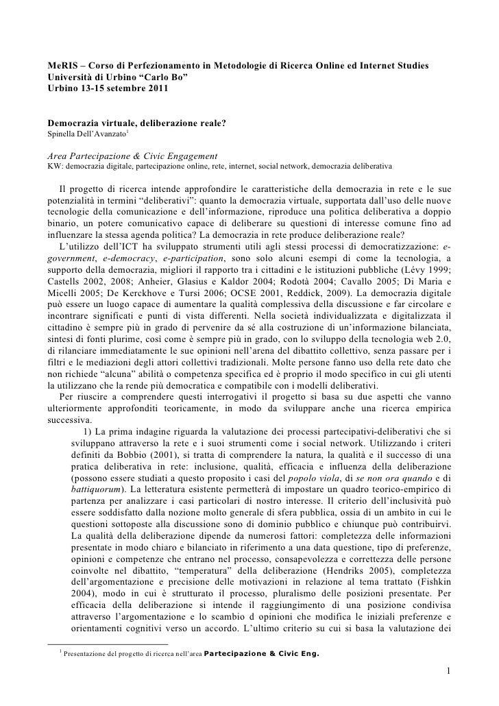 """MeRIS – Corso di Perfezionamento in Metodologie di Ricerca Online ed Internet StudiesUniversità di Urbino """"Carlo Bo""""Urbino..."""