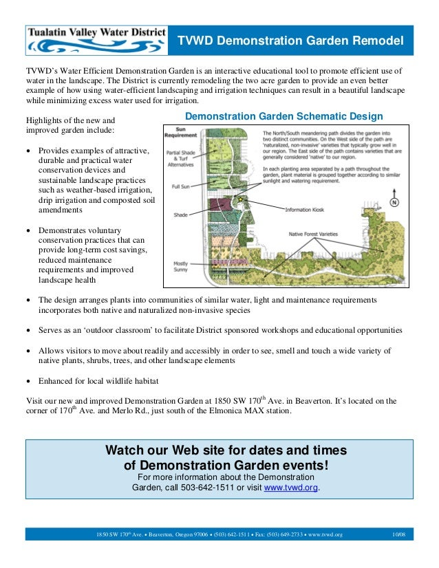 TVWD Demonstration Garden RemodelTVWD's Water Efficient Demonstration Garden is an interactive educational tool to promote...