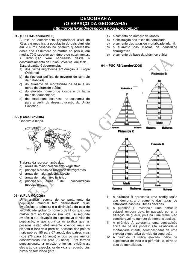 DEMOGRAFIA (O ESPAÇO DA GEOGRAFIA) http://profalexandregangorra.blogspot.com.br/ 01 - (PUC RJ/Janeiro/2006) A taxa de cres...