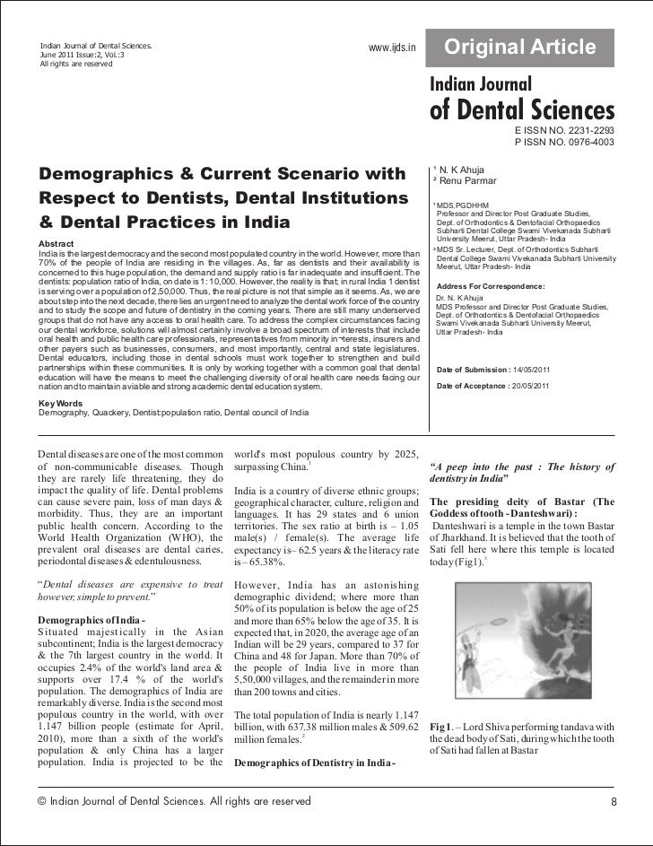 Demographics & Current Scenario with Respect to Dentists, Dental Institutions & Dental Practices in India