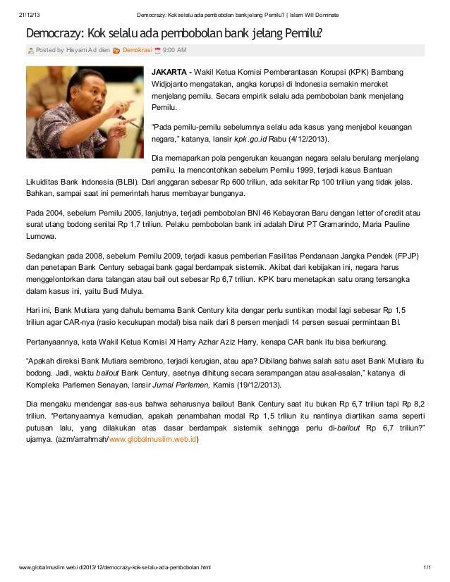 21/12/13  Democrazy: Kok selalu ada pembobolan bank jelang Pemilu? | Islam Will Dominate  Democrazy: Kok selalu ada pembob...