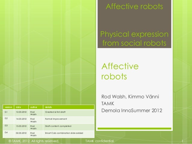 Affective robots                                                                             Physical expression          ...