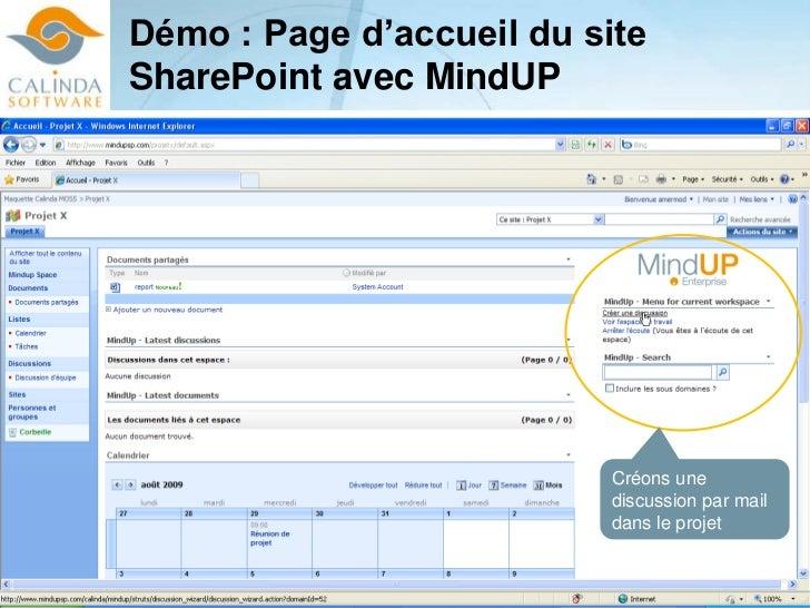 Démo : Page d'accueil du site SharePoint avec MindUP<br />Créons une discussion par mail dans le projet<br />