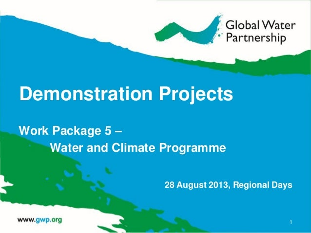 Demonstration Projects Work Package 5 – Water and Climate Programme 28 August 2013, Regional Days 1
