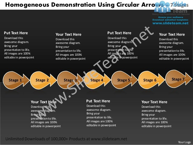 Demonstration using circular arrows 7 stages vending machine business plan power point templates