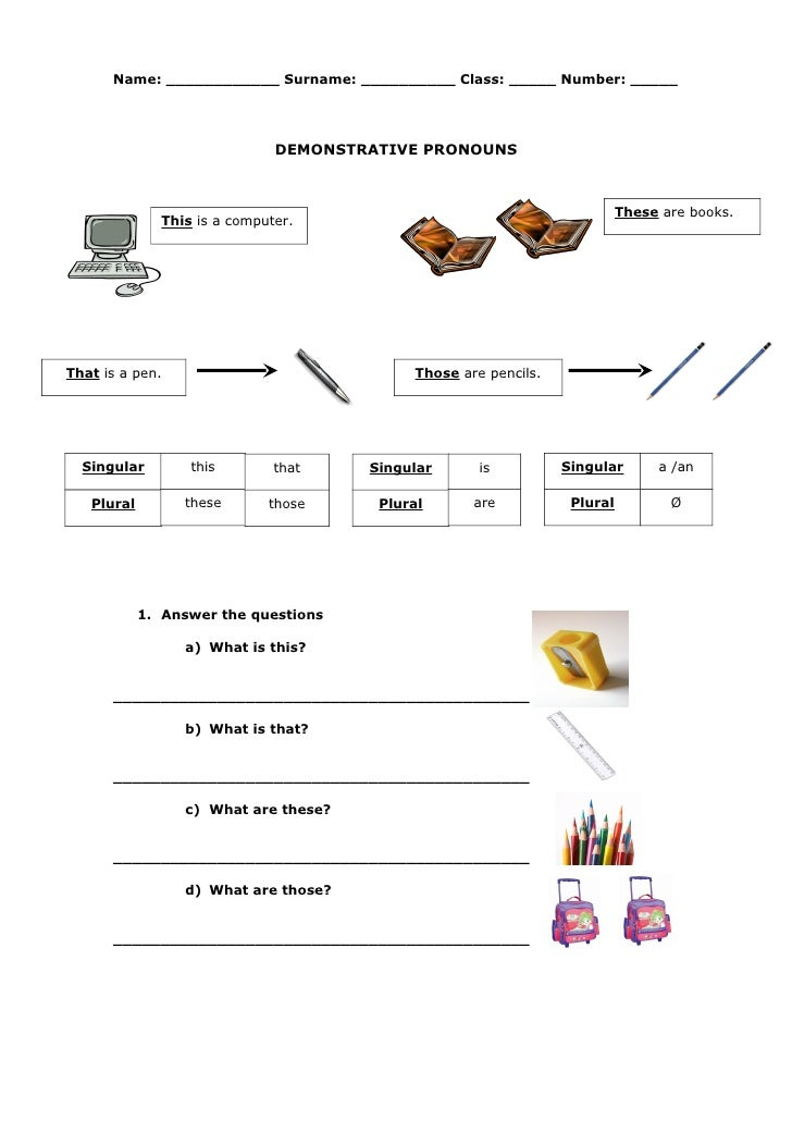 Demonstrative Pronouns Spanish Online – Demonstrative Adjectives Worksheets