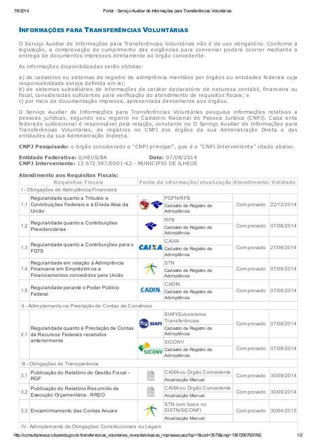 7/8/2014 Portal - Serviço Auxiliar de Informações para Transferências Voluntárias http://consulta.tesouro.fazenda.gov.br/t...